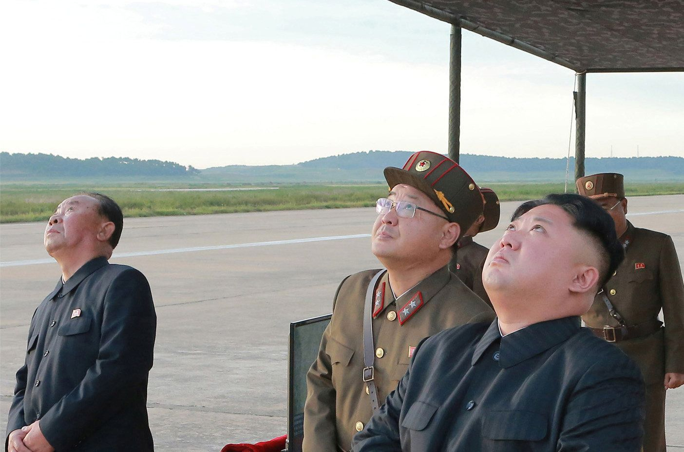 North Korean leader Kim Jong Un watches a missile launch on Sept. 16.