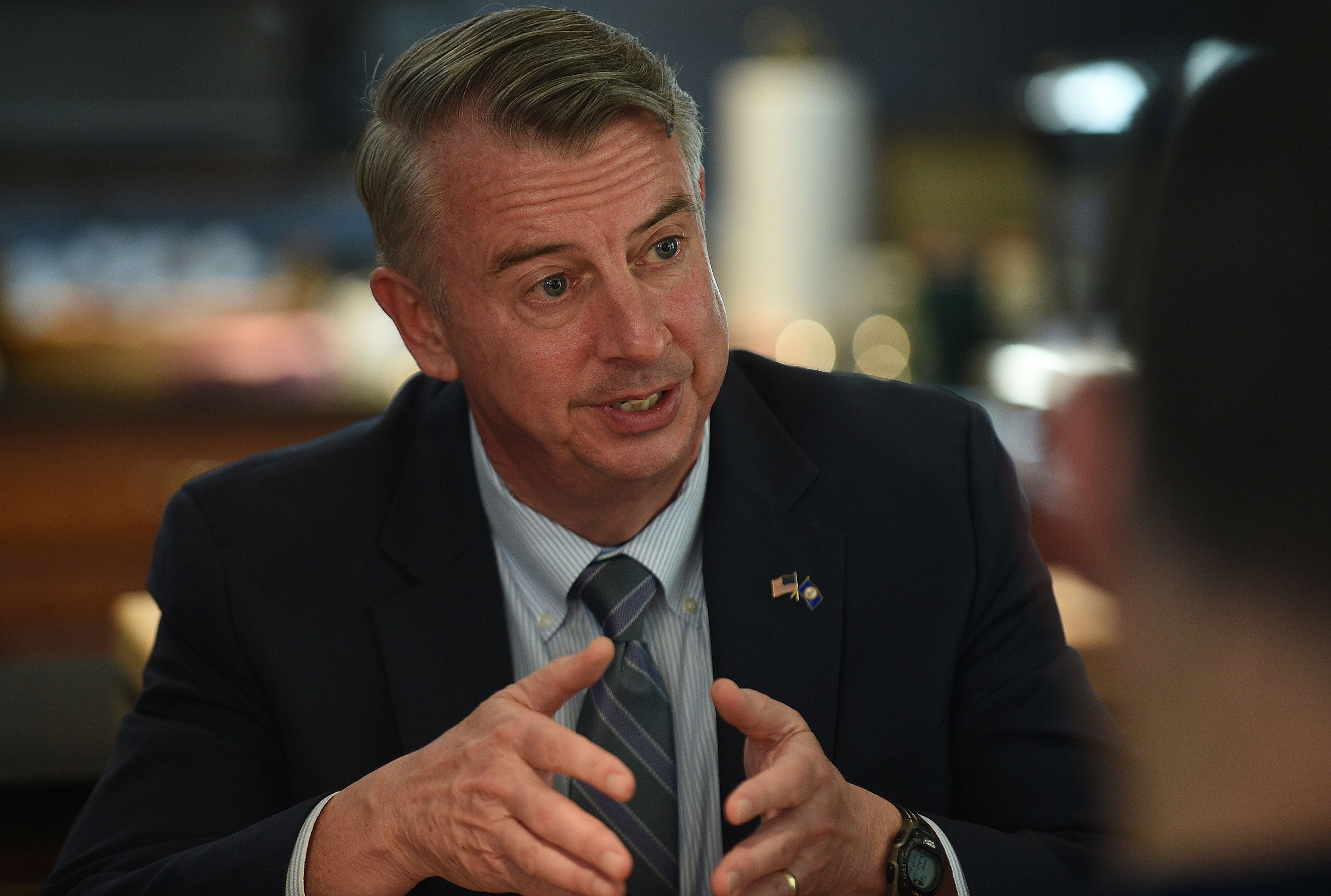 STERLING, VA - MARCH 16: 2017 Republican candidate for governor Ed Gillespie announces his policy initiative during Loudoun Kitchen Table Conversation in Sterling, VA, March 16, 2017. Gillespie, who was the 61st Chairman of the Republican National Committee and a 2014 U.S. Senate nominee, opposed tax cuts for all Virginian during the event. (Photo by Astrid Riecken For The Washington Post via Getty Images)