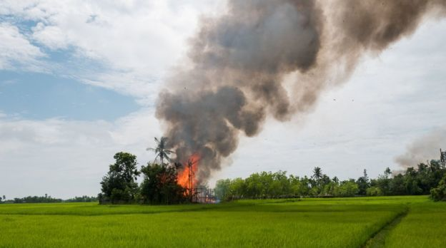 BBC reporters in Myanmar witnessed burning Muslim villages.