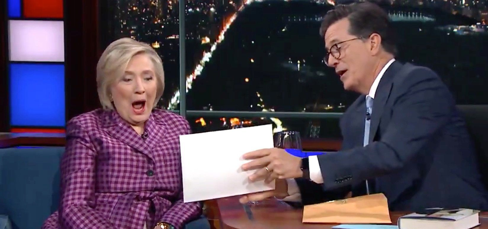 Hillary Clinton sees an unused gag fromStephen Colbert's election night coverage.