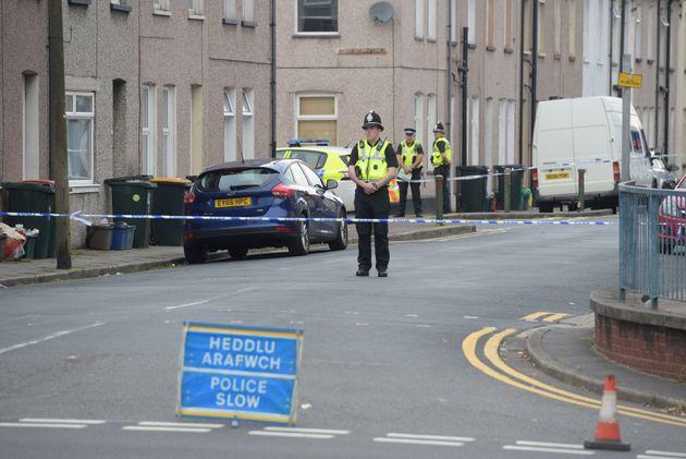 Police at the scene in Jeffrey Street in