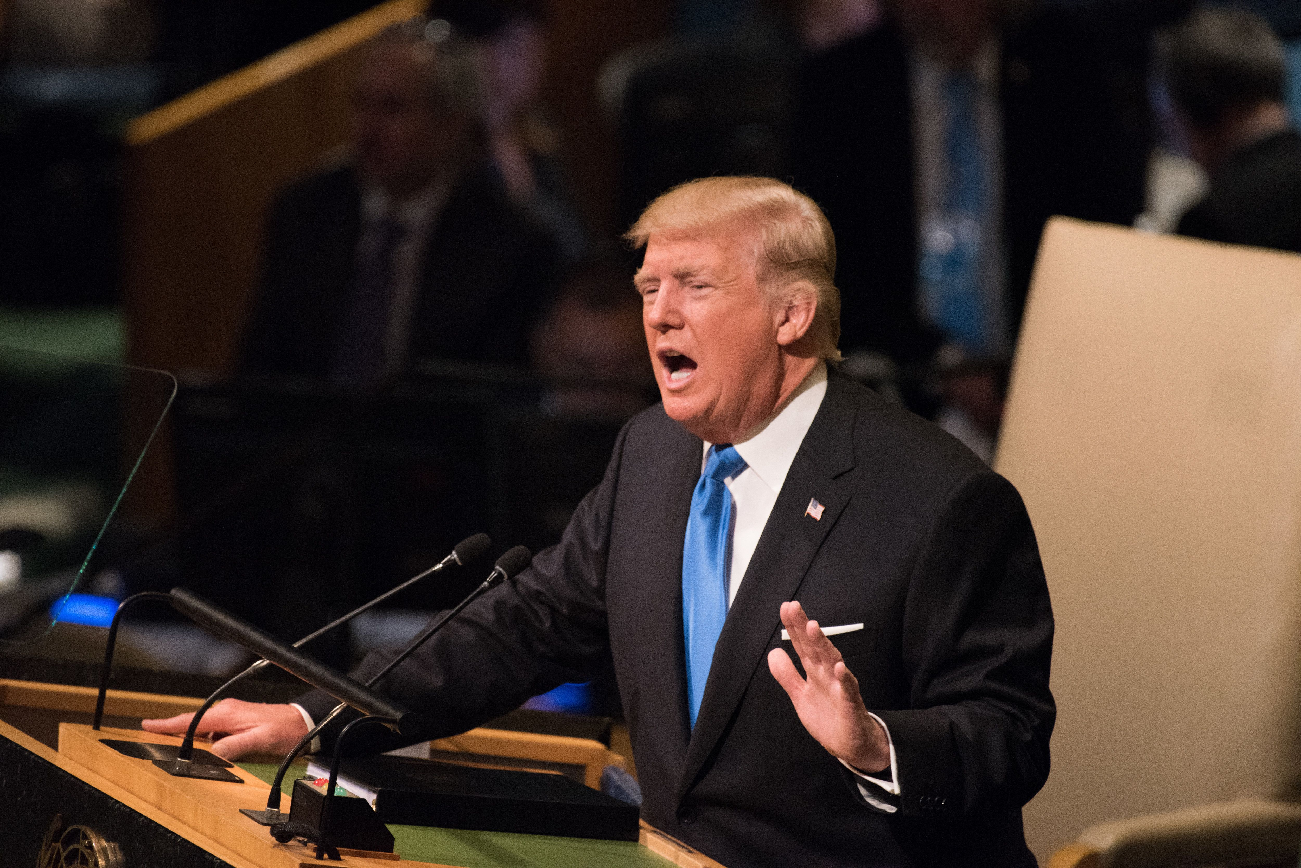 MANHATTA, NEW YORK CITY, NEW YORK, UNITED STATES - 2017/09/19: US President Donald Trump gestures during speech delivered to UN 72nd General Assembly. (Photo by Andy Katz/Pacific Press/LightRocket via Getty Images)