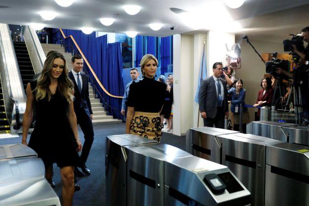 Ivanka Trump (R) and Lara Trump (L) depart after Trump delivered his