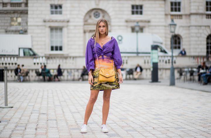 Outside London Fashion Week on Sept. 19.