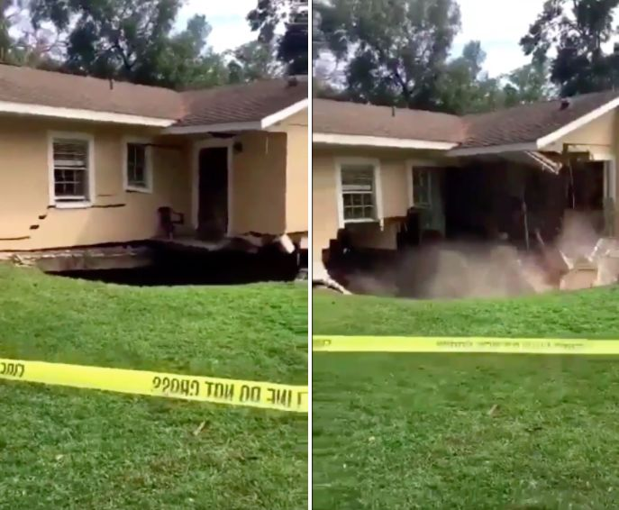 video shows sinkhole swallowing part of florida home after storm