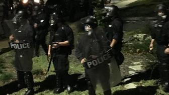 Riot police in St Louis