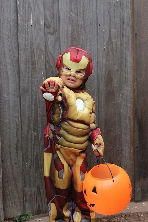 """""""My daughter had to be Iron Man for Halloween. She didn't want frill or tutus or anything else because Iron Man doesn't have"""