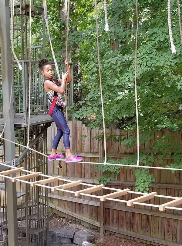 """""""My 7-year-old doing a high rope course without support. Mommy is a bit afraid, but she's fearless."""""""