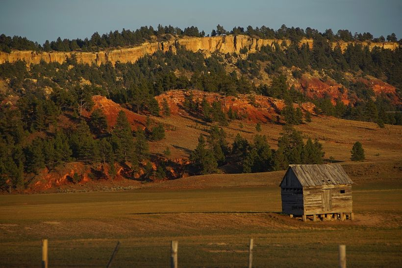 A small shed on a free range outside of Hulett Wyoming. This image was taken as the Sun was getting low in the West, the 'swe