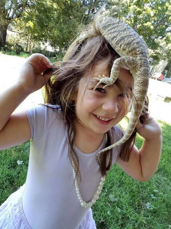 """""""This is my daughter. She is 4 years old and her interests include everything scaly or creepy! She particularly loves her liz"""
