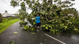 A man clears the road from fallen tree branches in the village of Viard - Petit Bourg on September 19, 2017 in the French territory of Guadeloupe after the passage of Hurricane Maria. Hurricane Maria headed towards the Virgin Islands and Puerto Rico on September 19, with the US National Hurricane Center warning of a 'potentially catastrophic' impact as it battered the eastern Caribbean. Arriving just as islanders in the region are struggling to recover from devastating Hurricane Irma which struck earlier this month, Maria claimed its first victim in the French territory of Guadeloupe, where two other people were missing.  / AFP PHOTO / Cedrick Isham CALVADOS        (Photo credit should read CEDRICK ISHAM CALVADOS/AFP/Getty Images)