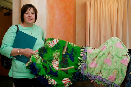 A blanket brigade at work! Adrienne Alexander has been making and donating blankets for 10 years.