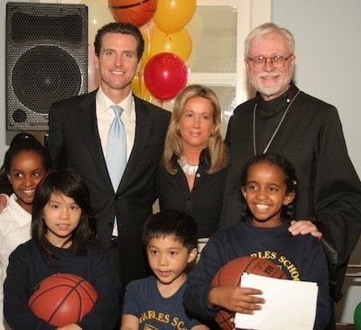 <em>Gavin Newson, Sophie, Father David (Raphael House Executive Director) at the Raphael House Make over inauguration</em>