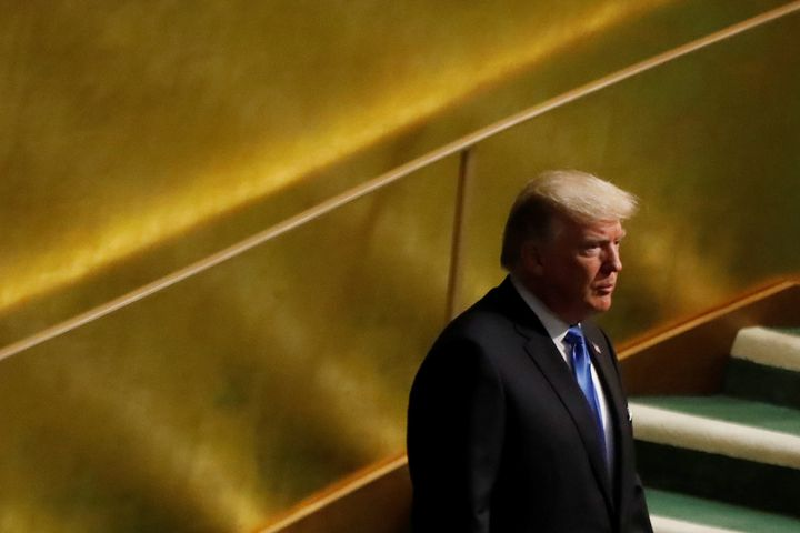 President Donald Trump arrives to address the 72nd United Nations General Assembly at U.N. headquarters in New York on Sept.