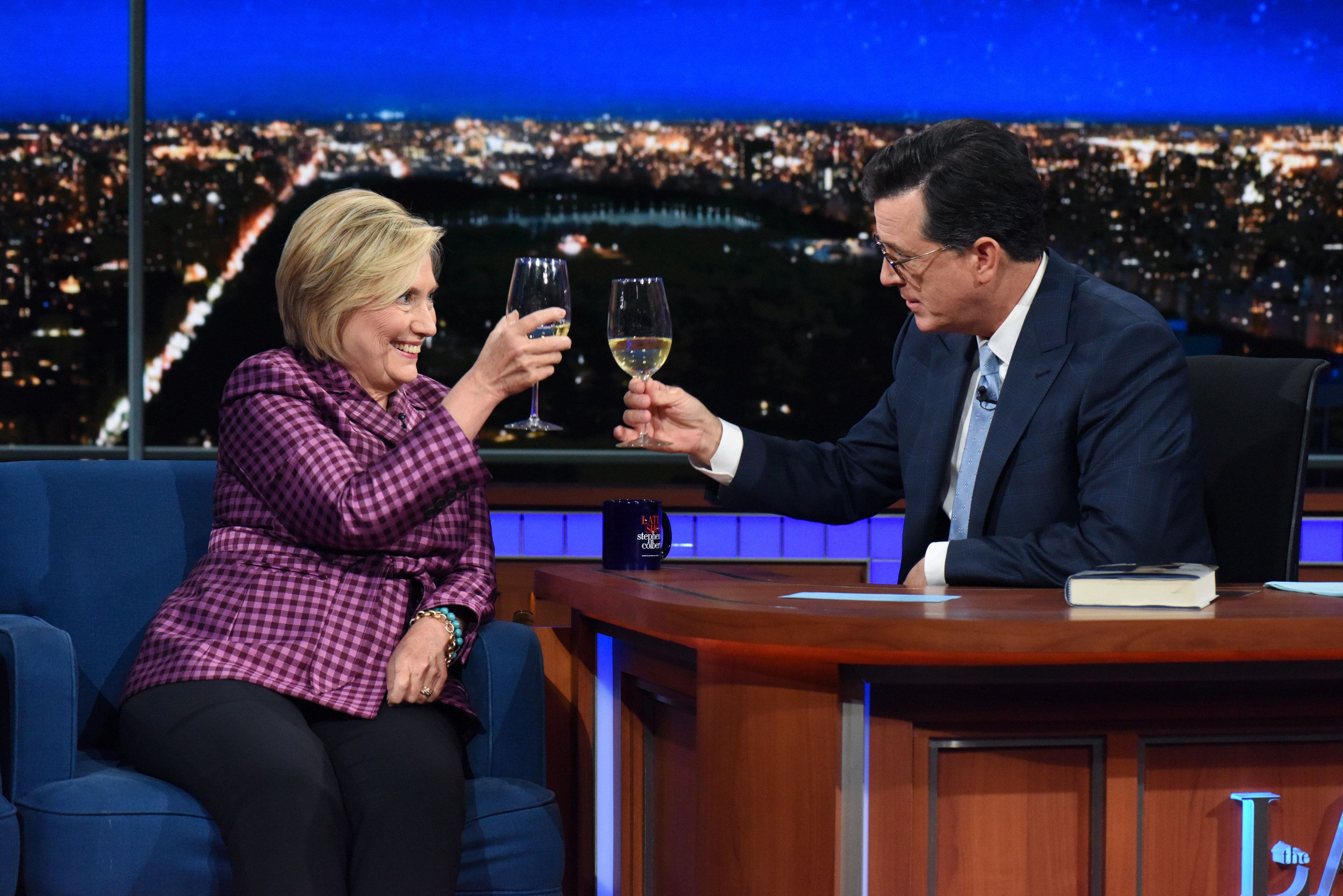 NEW YORK - SEPTEMBER 19: The Late Show with Stephen Colbert and guest Hillary Clinton during Tuesday's September 19, 2017 show. (Photo by Scott Kowalchyk/CBS via Getty Images)