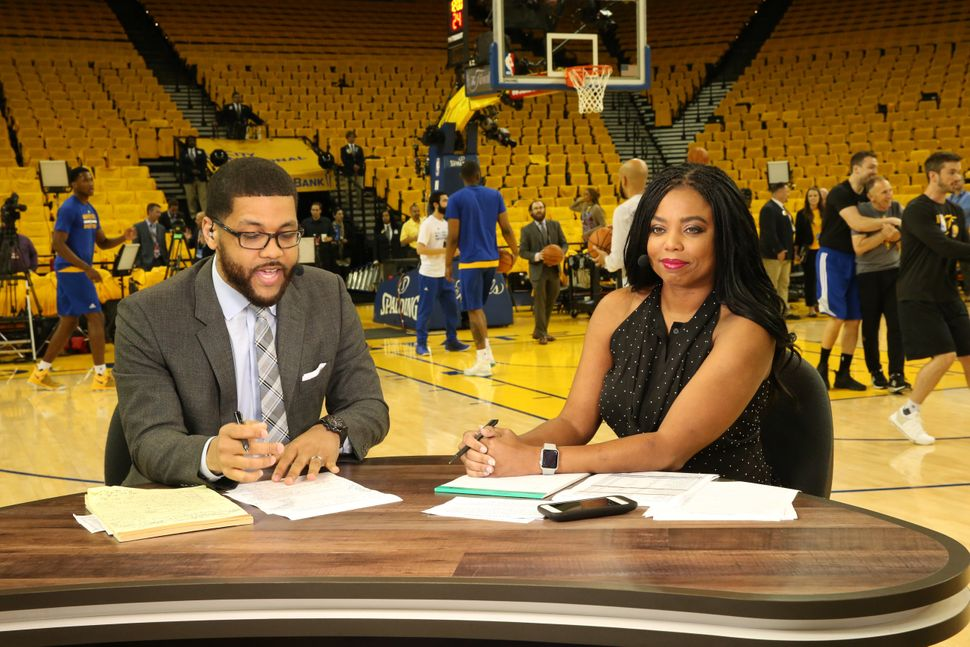 Jemele Hill and her co-host Michael Smith covering the NBA Finals on June 12, 2017.