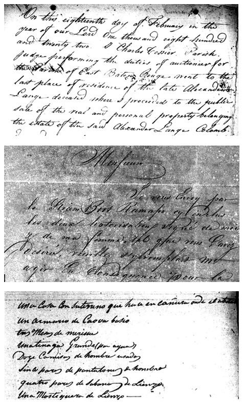 <em>English, French and Spanish paperwork from estate records of Alexander Lange</em>
