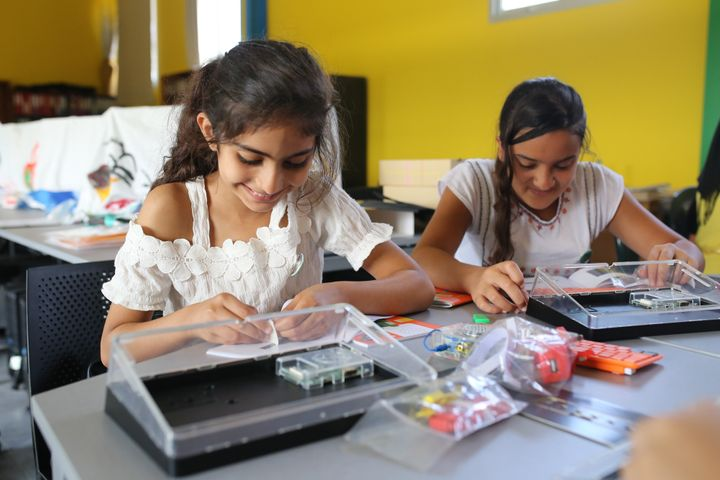 <p>Girls attend Code Club in Lebanon</p>