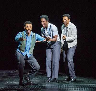 Melvin Franklin (Jared Joseph), Al Bryant (Jarvis B. Manning, Jr.) and Otis Williams (Derrick Baskin) in a scene from <strong