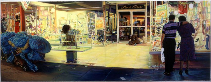 John Valadez. Leed's Shoes, 2004, pastel on paper, 38x100 inches