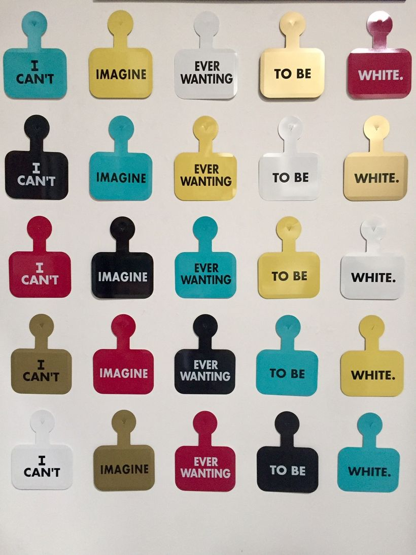 Daniel J. Martinez. I Can't Imagine Ever Wanting to Be White. Project for the Whitney Biennial, 1993. The show features a com