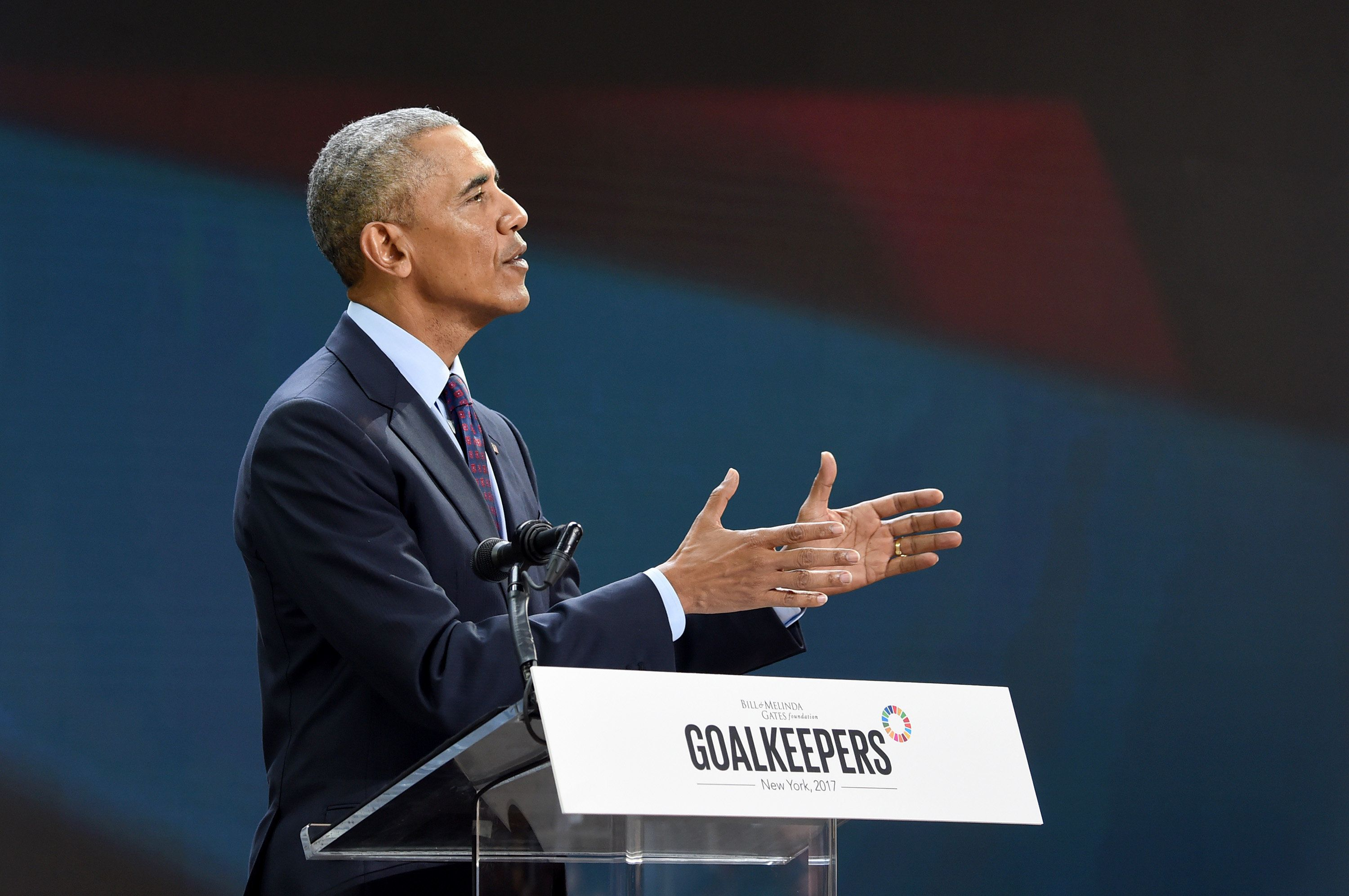 NEW YORK, NY - SEPTEMBER 20:  President Barack Obama speaks at Goalkeepers 2017, at Jazz at Lincoln Center on September 20, 2017 in New York City.  Goalkeepers is organized by the Bill & Melinda Gates Foundation to highlight progress against global poverty and disease, showcase solutions to help advance the Sustainable Development Goals (or Global Goals) and foster bold leadership to help accelerate the path to a more prosperous, healthy and just future.  (Photo by Jamie McCarthy/Getty Images for Bill & Melinda Gates Foundation)