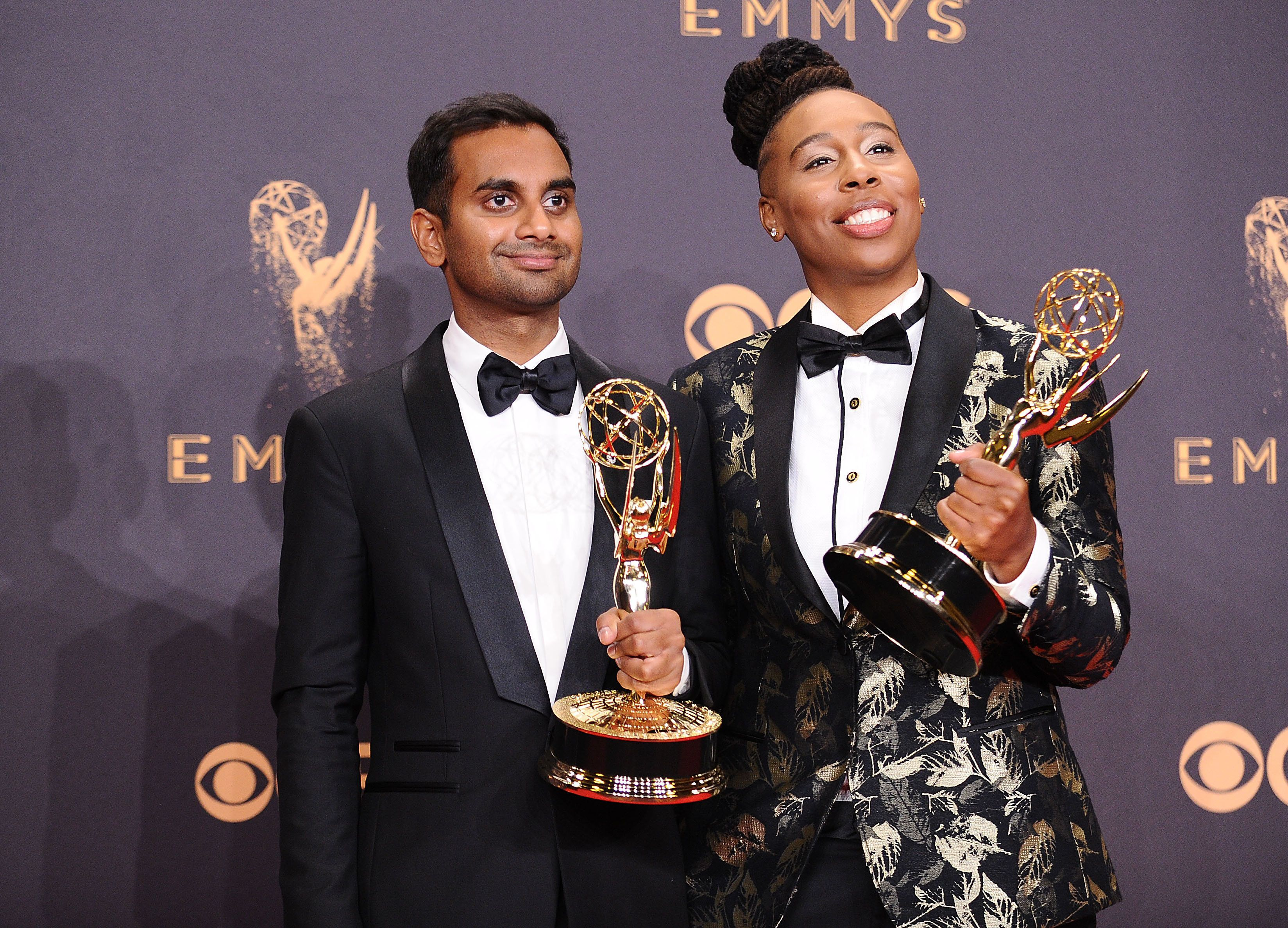 LOS ANGELES, CA - SEPTEMBER 17:  Aziz Ansari and Lena Waithe pose in the press room at the 69th annual Primetime Emmy Awards at Microsoft Theater on September 17, 2017 in Los Angeles, California.  (Photo by Jason LaVeris/FilmMagic)