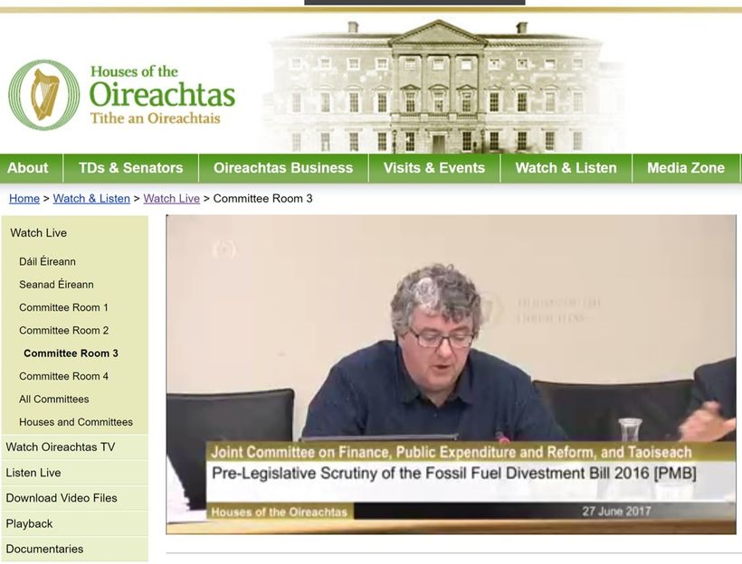 Deputy Thomas Pringle comments at parliamentary hearing of Ireland's Fossil Fuel Divestment Bill