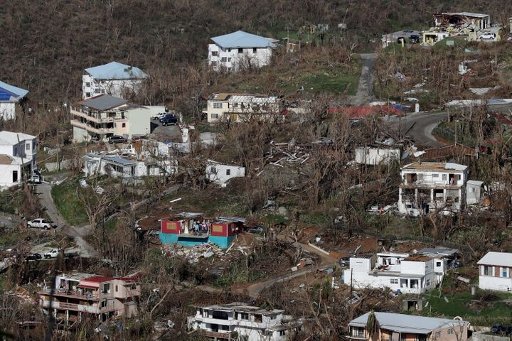 Damaged houses dot the hillsides in Charlotte Amalie, St. Thomas, more than a week after Hurricane Irma hit the U.S. Virgin I