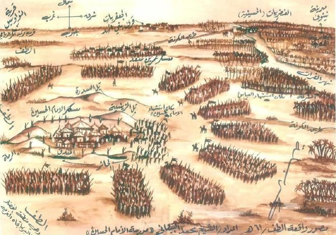 A historical drawing showing the camp of Hussain surrounded by the army of Yazid.