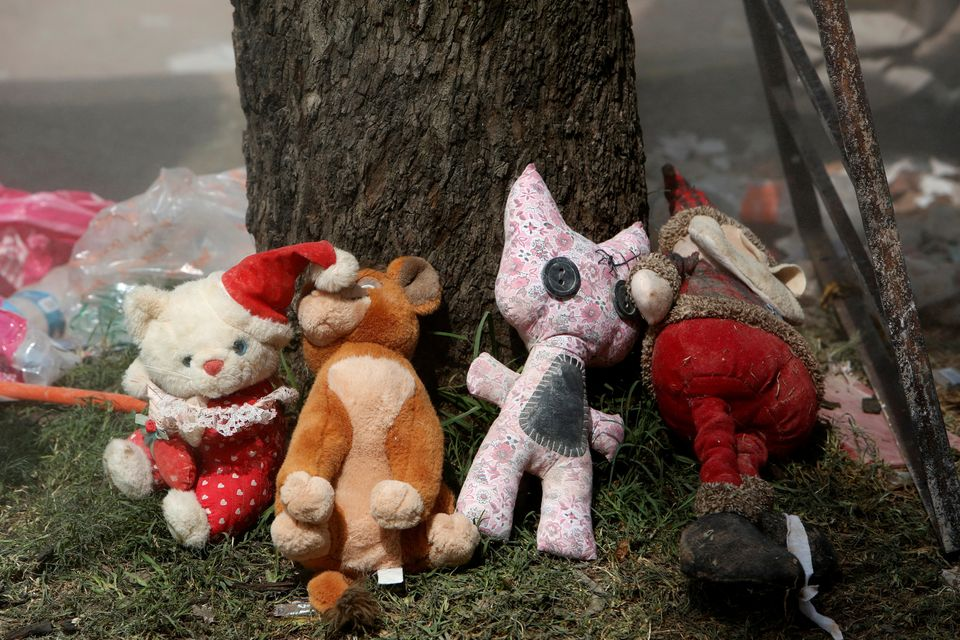Toys recovered from the rubble of a collapsed