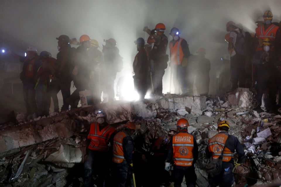 Rescuer workers desperately searched for survivors
