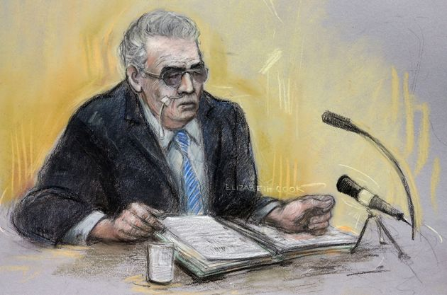 A court sketch of Brady, his feeding tube visible, appearing via video link at Manchester Civil Justice...