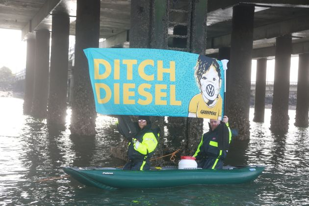 Protestors drew up alongside the ship in kayaks and small