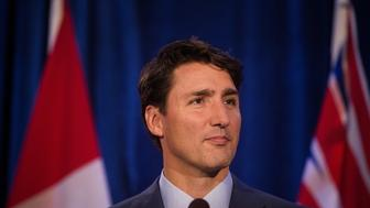 Justin Trudeau, Canada's prime minister, speaks to media after the Federal Liberal Party caucus retreat in Kelowna, British Columbia, Canada, on Thursday, Sept. 7, 2017. Trudeau's liberal Party lawmakers gather in British Columbia this week to kickoff the government's fall agenda as he continues to ride high in polls and Canada's growth is leading Group of Seven nations.  Photographer: Ben Nelms/Bloomberg via Getty Images