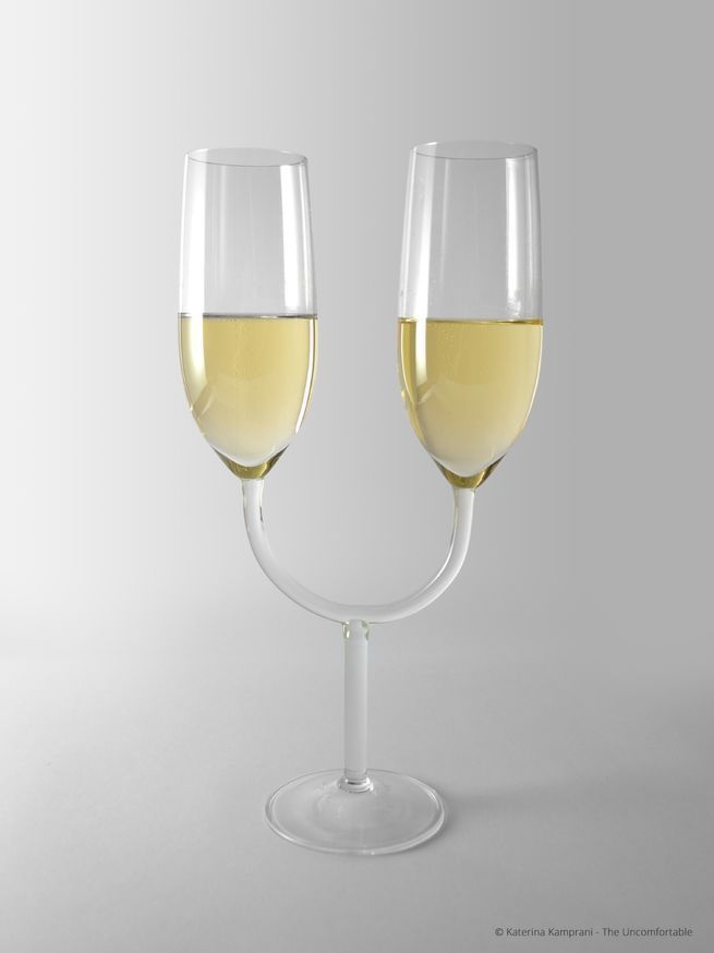 The best way to use these champagne glasses is with your face smushed against someone else's while taking sips at exactly