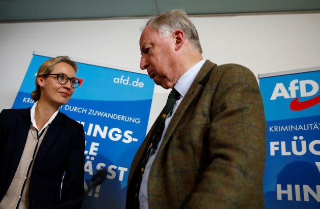 The AfD's two lead candidates, Alice Weidel and Alexander Gauland, attend a news conference in Berlin on...