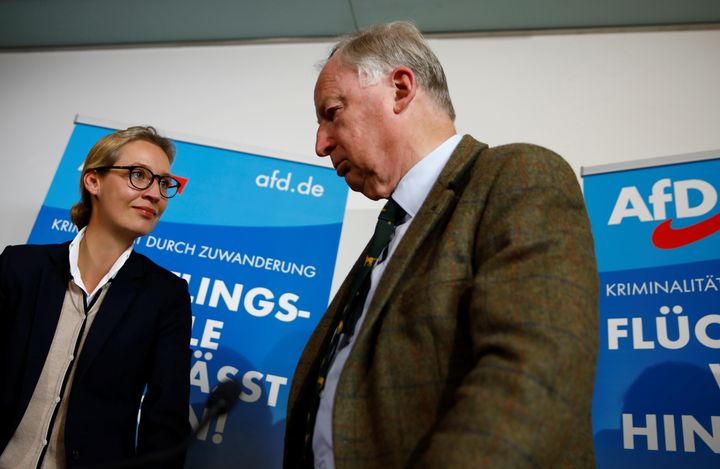 The AfD's two lead candidates, Alice Weidel and Alexander Gauland,attend a news conference in Berlinon Sept. 18,
