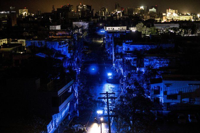 San Juan, P.R., was plunged into darkness on Wednesday after Hurricane Maria made landfall.