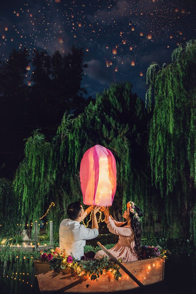 "A photo from the couple's ""Tangled"" engagement session."