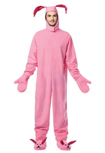 """You'll shoot your eye out! <a href=""""https://www.halloweenexpress.com/adult-christmas-story-bunny-costume-p-32573.html"""" target"""
