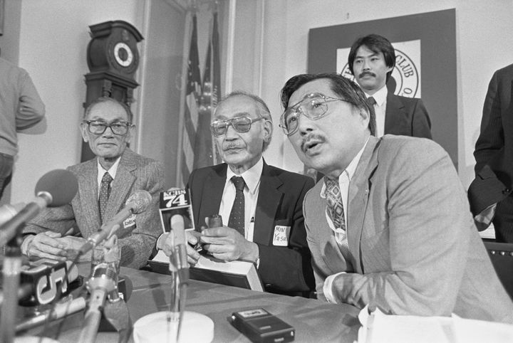 Fred Korematsu, Minoru Yasui and Gordon Hirabayashi, three Japanese-American civil rights advocates who challenged U.S. gover