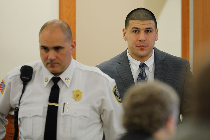 Former New England Patriots football player Aaron Hernandez arrives in the courtroom at Bristol County Superior Court in Fall