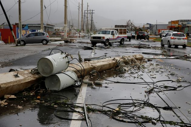 Damaged electrical installations are seen after the area was hit by Hurricane Maria in Guayama, Puerto...