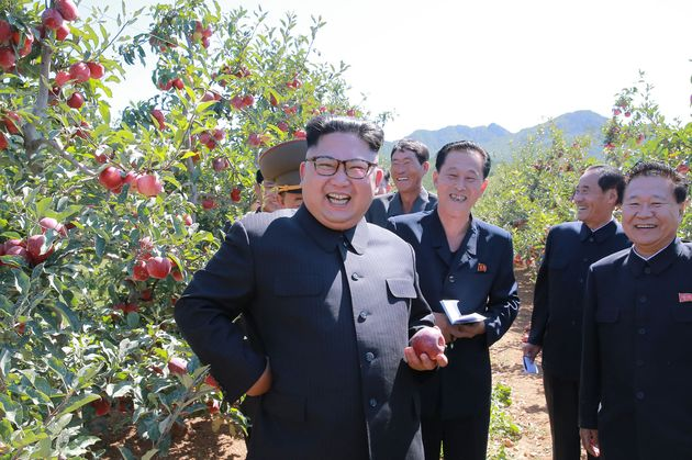 Kim Jong-Un in an orchard this