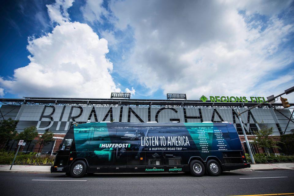 The HuffPost bus sits in front of Region Field stadium as HuffPost visits Birmingham, Alabama, on Sept. 20 as part of Listen
