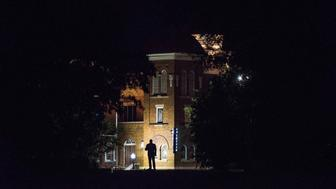 """BIRMINGHAM, AL - SEPTEMBER 19: The Martin Luther King Jr. statue looks at the  16th Street Baptist Church in Birmingham on Sept. 19, 2017. HuffPost is visiting the city as part of """"Listen To America: A HuffPost Road Trip."""" The outlet will visit more than 20 cities on its tour across the country. (Photo by Damon Dahlen/HuffPost)  *** Local Caption ***"""