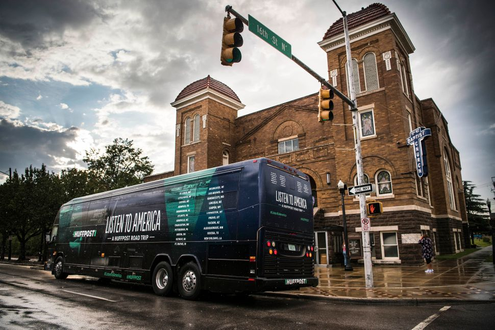 The HuffPost bus in front of the 16th Street Baptist Church.
