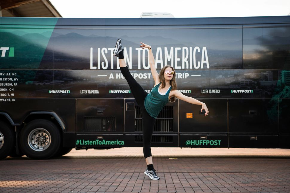 Nadine Barton show off her dance moves for HuffPost during the outlet's visit to Birmingham.