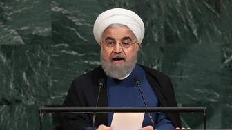 NEW YORK, NY - SEPTEMBER 20: Hassan Rouhani, President of the Islamic Republic of Iran, addresses  the United Nations General Assembly at UN headquarters, September 20, 2017 in New York City. The most pressing issues facing the assembly this year include North Korea's nuclear ambitions, violence against the Rohingya Muslim minority in Myanmar, and the debate over climate change. (Photo by Drew Angerer/Getty Images)